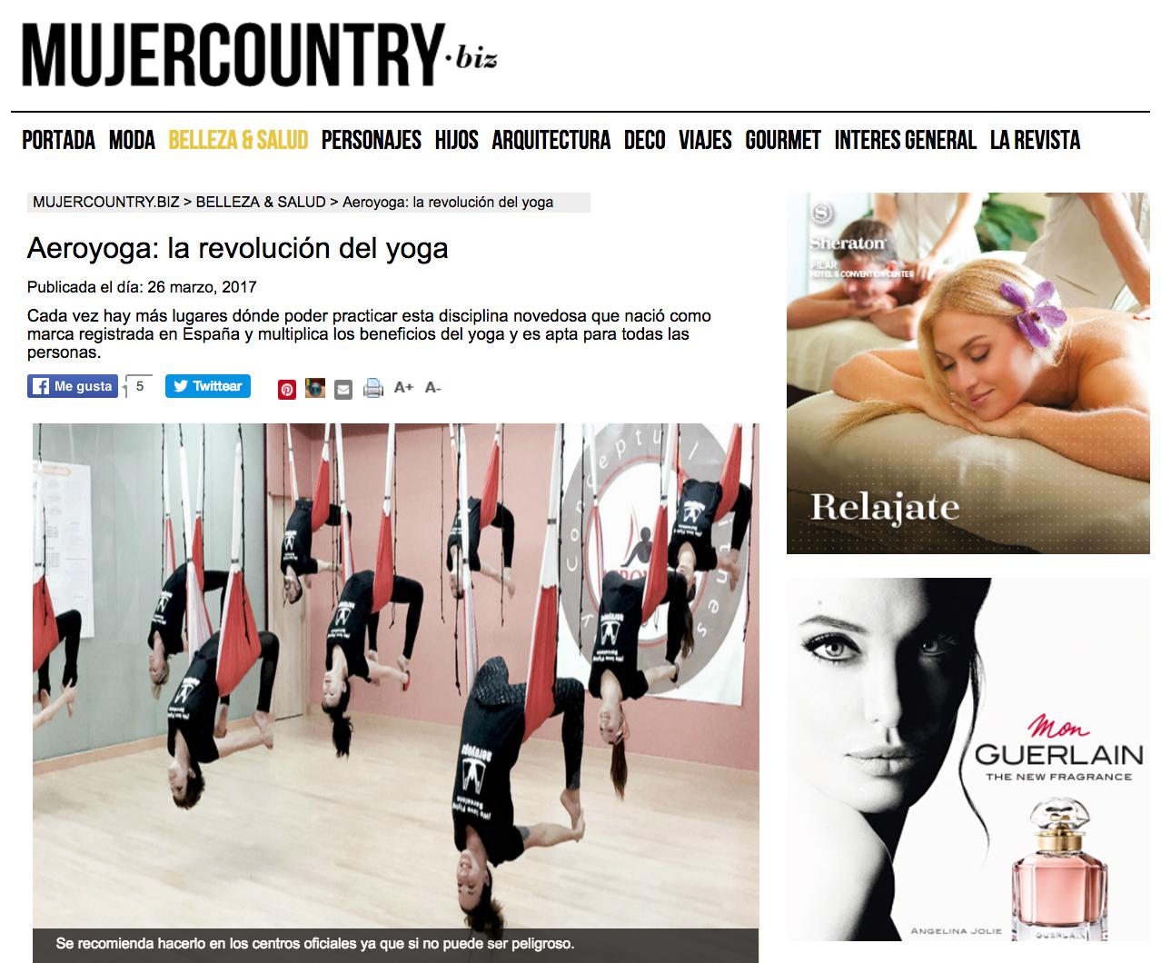 «Aeroyoga: la revolución del yoga» esta semana en Mujer Country Magazine.