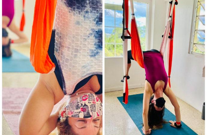 ejercicios yoga aéreo